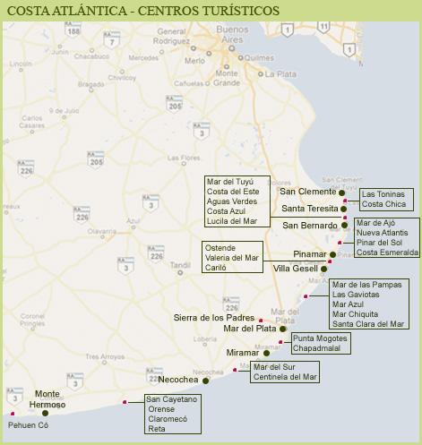 Mapa De Partido De General Pueyrred N Costa Atl Ntica
